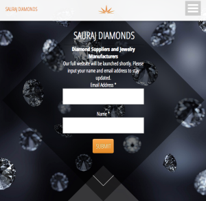 Sauraj Diamonds mobile menu.